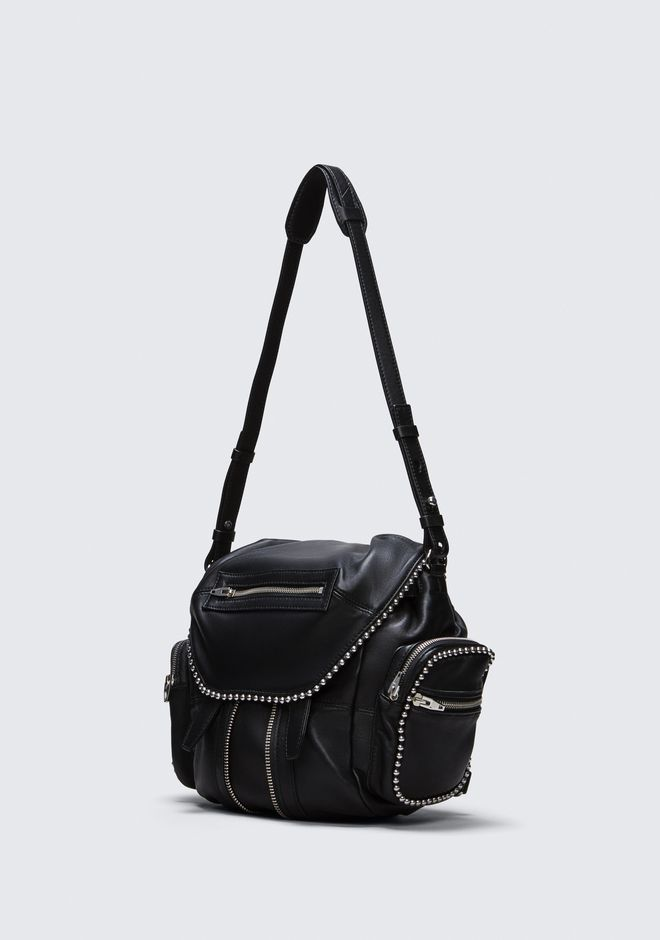 ALEXANDER WANG BALL STUD MINI MARTI IN BLACK WITH RHODIUM  BACKPACK Adult 12_n_a