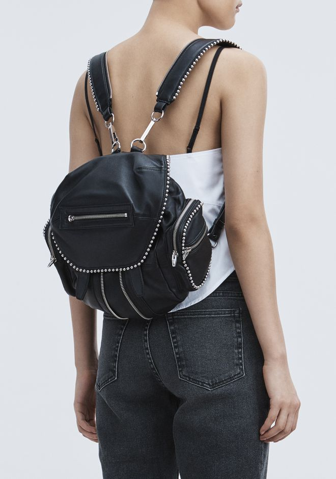ALEXANDER WANG BALL STUD MINI MARTI IN BLACK WITH RHODIUM  BACKPACK Adult 12_n_r
