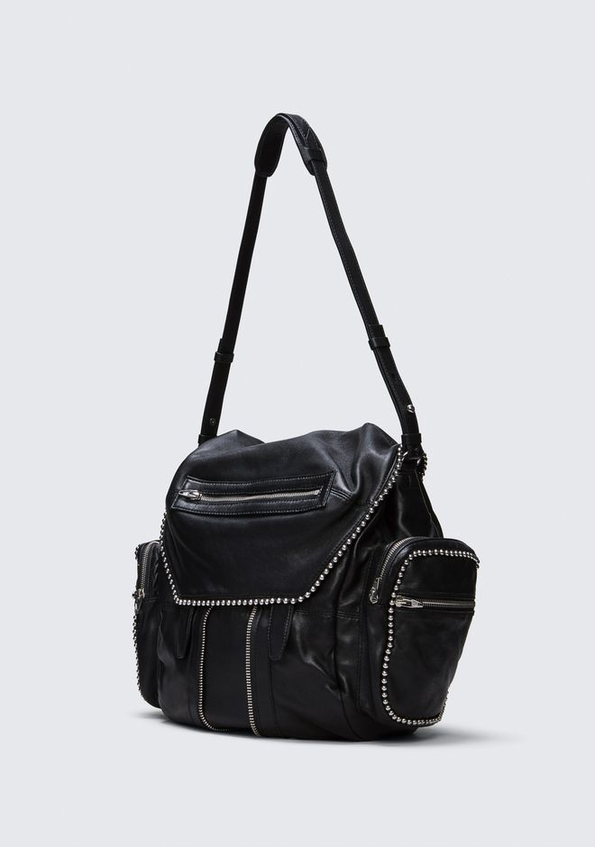 ALEXANDER WANG BALL STUD MARTI IN BLACK WITH RHODIUM BACKPACK Adult 12_n_a