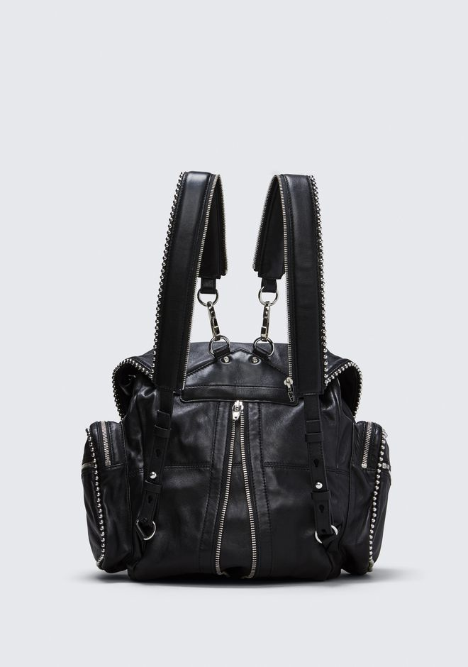 ALEXANDER WANG BALL STUD MARTI IN BLACK WITH RHODIUM BACKPACK Adult 12_n_d