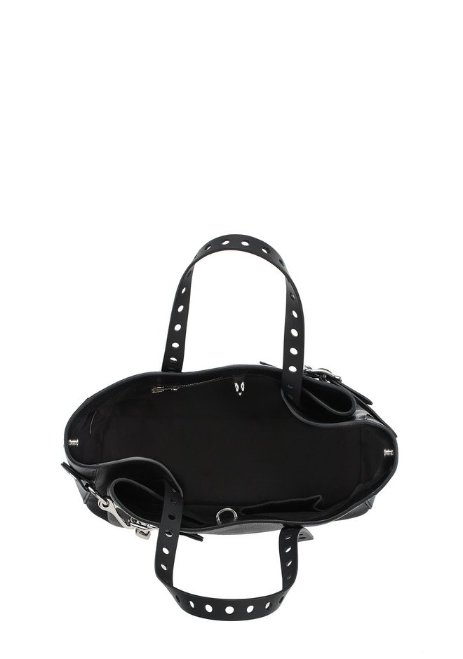 ALEXANDER WANG ATTICA FOLD SATCHEL IN BLACK WITH RHODIUM TOTE Adult 12_n_a