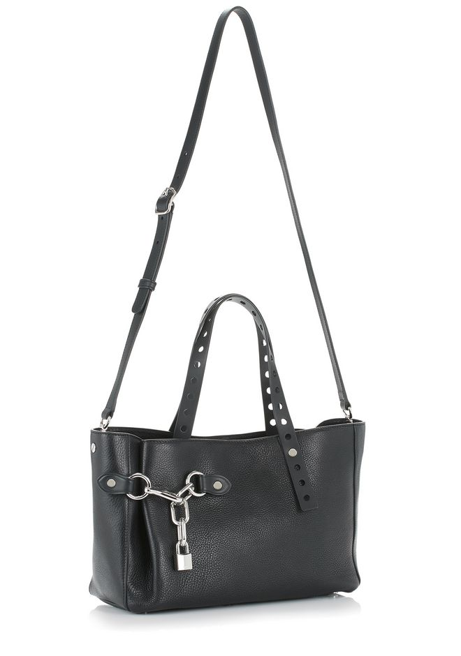 ALEXANDER WANG ATTICA FOLD SATCHEL IN BLACK WITH RHODIUM TOTE Adult 12_n_e