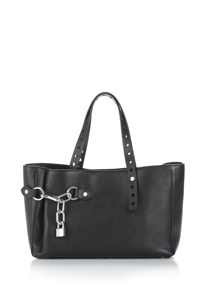 ALEXANDER WANG ATTICA FOLD SATCHEL IN BLACK WITH RHODIUM TOTE Adult 12_n_f