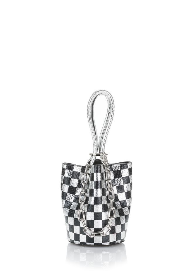ALEXANDER WANG POCHETTES ROXY MINI BUCKET IN CHECKERBOARD ELAPHE