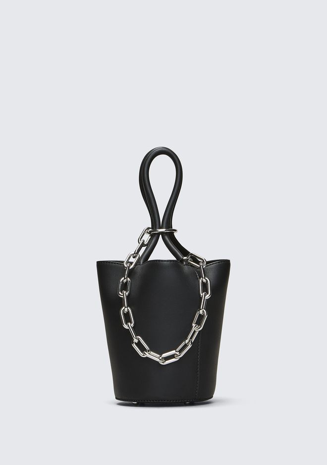 ALEXANDER WANG CLUTCHES ROXY MINI BUCKET IN BLACK WITH RHODIUM