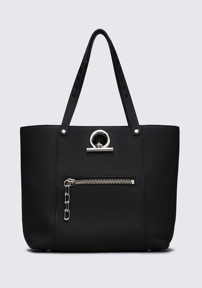 ALEXANDER WANG TOTES RIOT TOTE IN MATTE BLACK WITH RHODIUM