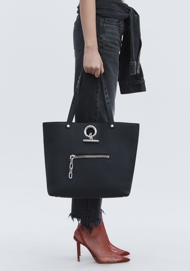 ALEXANDER WANG RIOT TOTE IN MATTE BLACK WITH RHODIUM  TOTE Adult 12_n_r