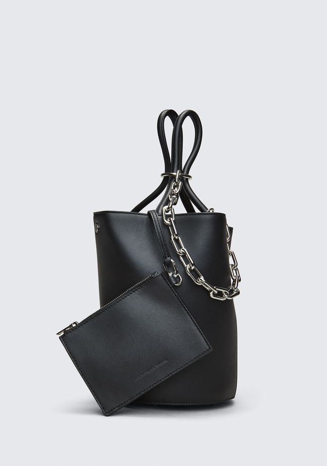 ALEXANDER WANG ROXY BUCKET BAG IN BLACK WITH RHODIUM  CLUTCH Adult 12_n_a