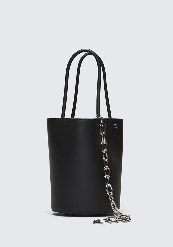 ALEXANDER WANG ROXY BUCKET BAG IN BLACK WITH RHODIUM  CLUTCH Adult 12_n_d