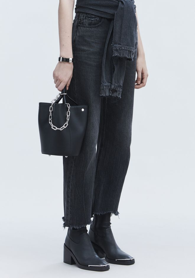 ALEXANDER WANG ROXY BUCKET BAG IN BLACK WITH RHODIUM  CLUTCH Adult 12_n_r