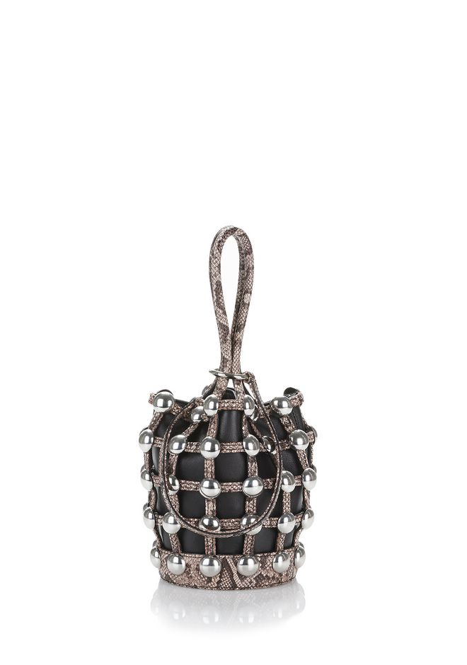 ALEXANDER WANG CLUTCHES DOME STUD ROXY MINI BUCKET IN EMBOSSED BLACK AND BROWN