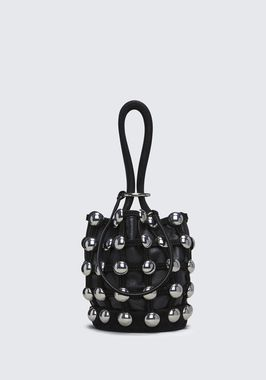 DOME STUD ROXY MINI BUCKET IN BLACK SUEDE