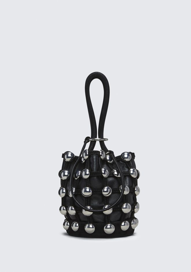 ALEXANDER WANG CLUTCHES DOME STUD ROXY MINI BUCKET IN BLACK SUEDE