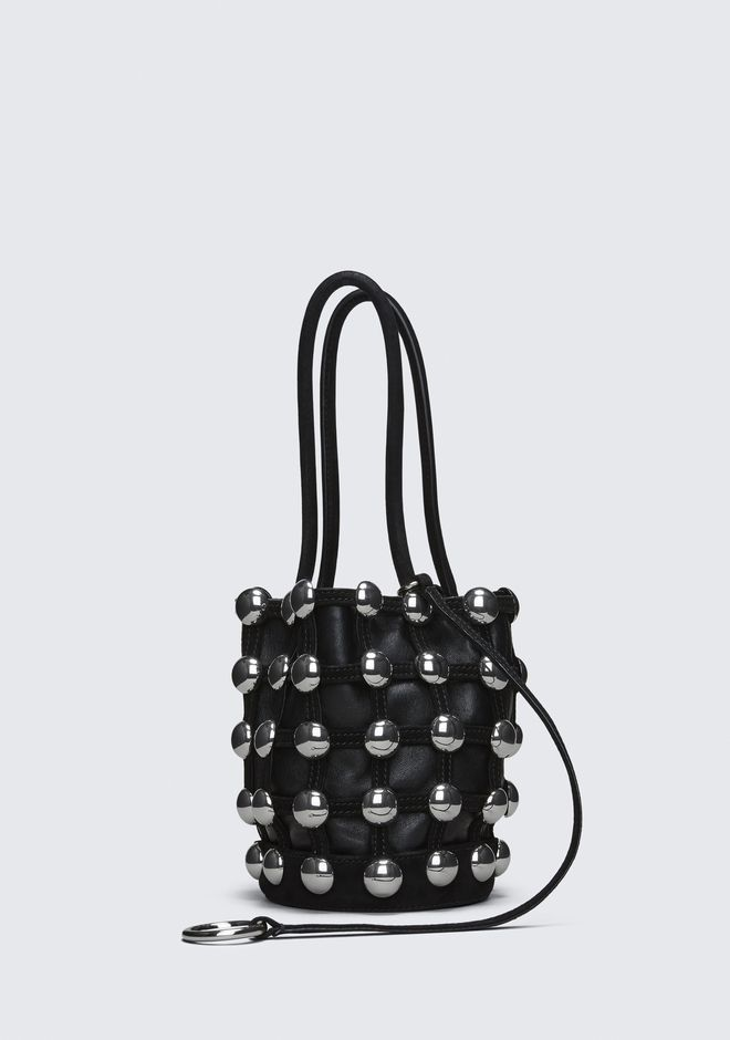 ALEXANDER WANG DOME STUD ROXY MINI BUCKET IN BLACK SUEDE  CLUTCH Adult 12_n_e