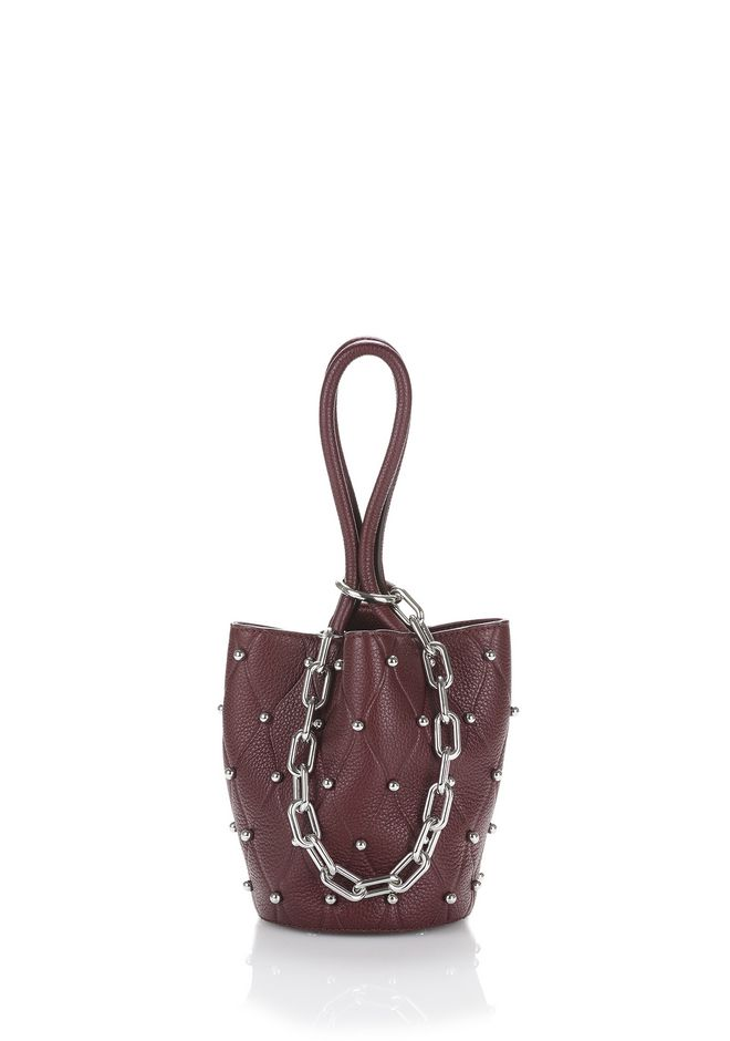 ALEXANDER WANG CLUTCHES ROXY MINI BUCKET IN EMBOSSED BEET WITH RHODIUM