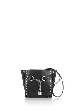 ATTICA CHAIN MINI SATCHEL IN BLACK WITH GROMMETS
