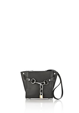 ATTICA CHAIN MINI SATCHEL IN BLACK WITH RHODIUM