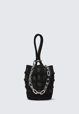 CAGED ROXY MINI BUCKET IN BLACK WITH RHODIUM