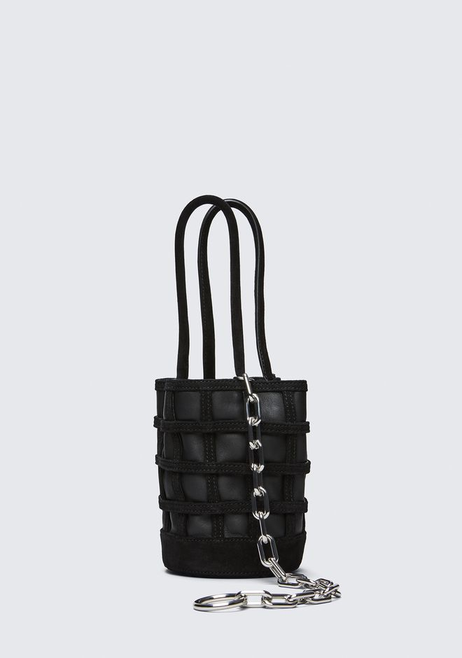ALEXANDER WANG CAGED ROXY MINI BUCKET IN BLACK WITH RHODIUM CLUTCH Adult 12_n_d