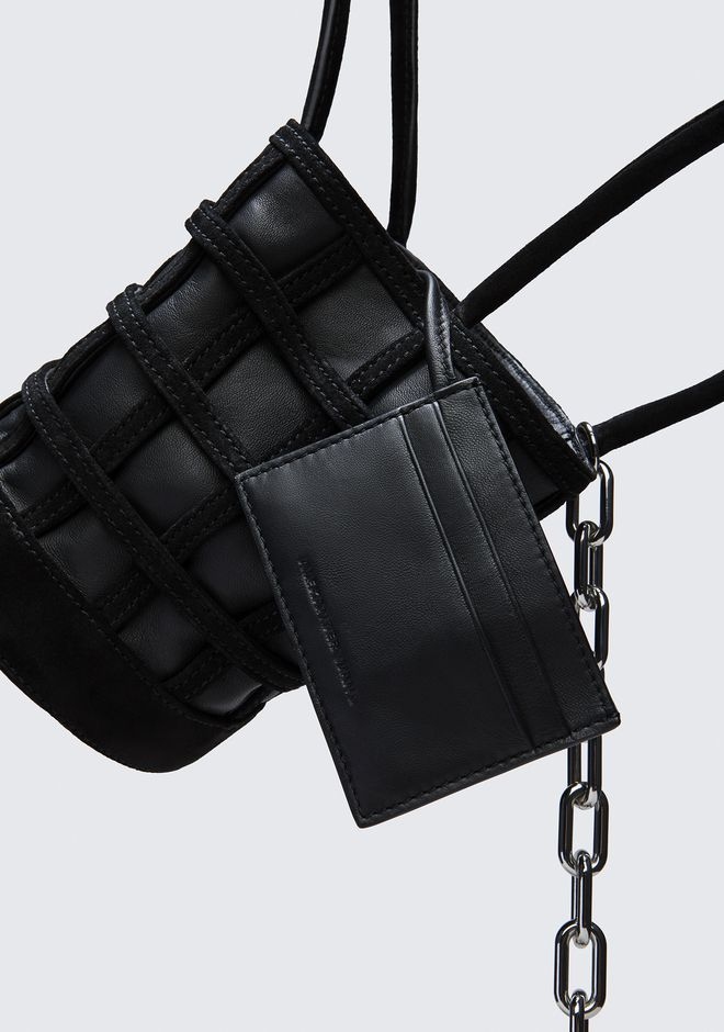ALEXANDER WANG CAGED ROXY MINI BUCKET IN BLACK WITH RHODIUM CLUTCH Adult 12_n_e