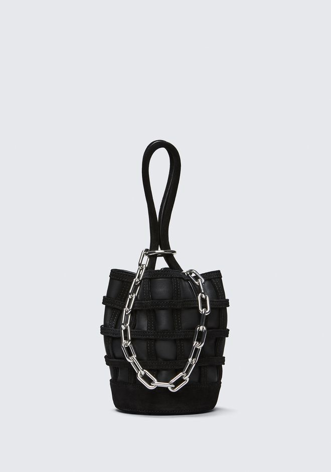 ALEXANDER WANG CAGED ROXY MINI BUCKET IN BLACK WITH RHODIUM CLUTCH Adult 12_n_f