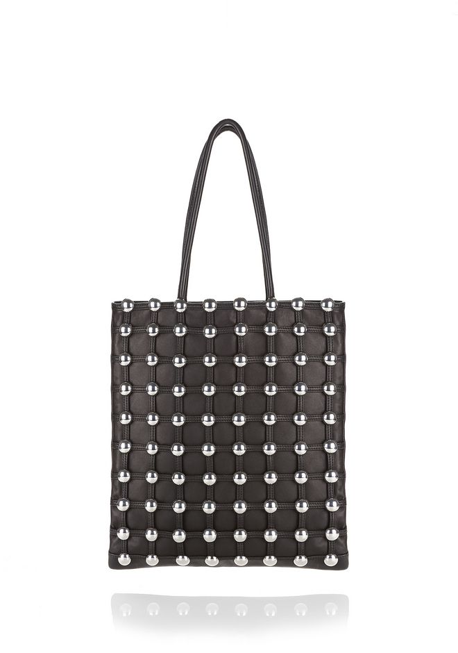 ALEXANDER WANG FOURRE-TOUT Femme DOME STUD CAGE SHOPPER TOTE IN BLACK