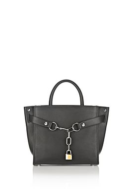ATTICA CHAIN LARGE SATCHEL IN BLACK WITH RHODIUM