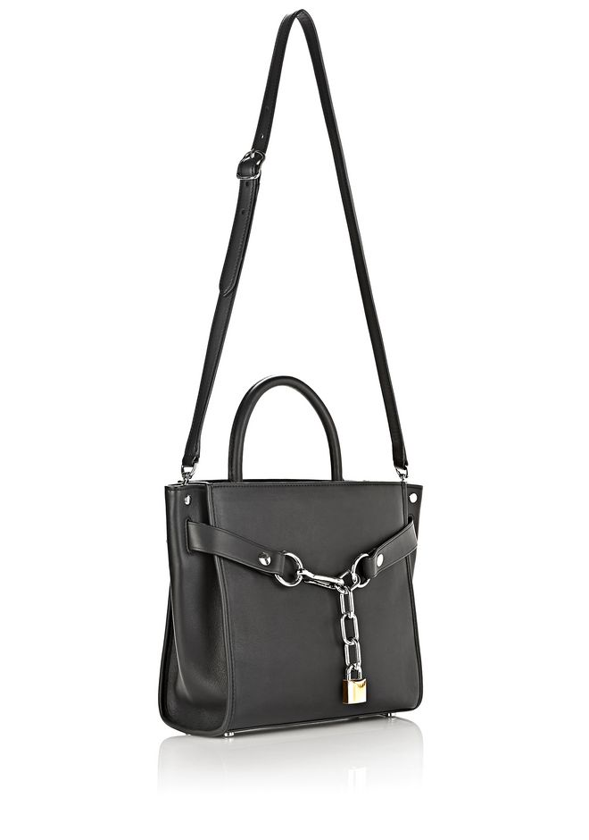 ALEXANDER WANG ATTICA CHAIN LARGE SATCHEL IN BLACK WITH RHODIUM Schultertasche Adult 12_n_e