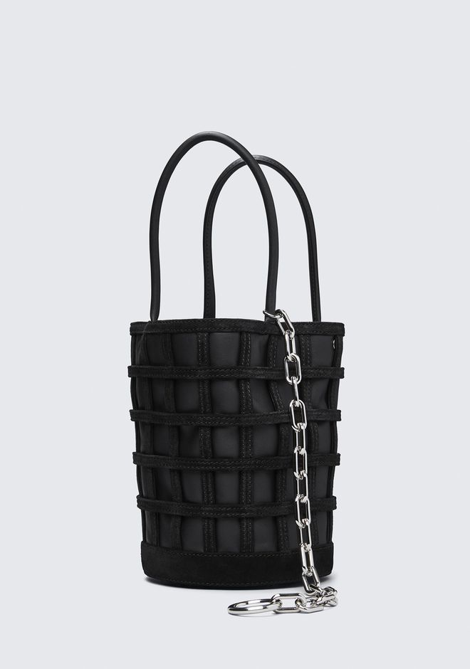 ALEXANDER WANG CAGED ROXY BUCKET IN BLACK WITH RHODIUM CLUTCH Adult 12_n_d