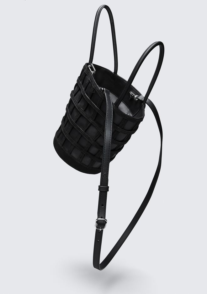 ALEXANDER WANG CAGED ROXY BUCKET IN BLACK WITH RHODIUM CLUTCH Adult 12_n_e