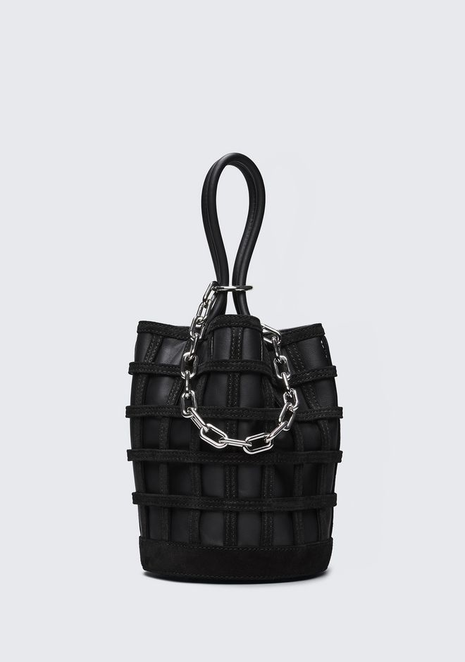 ALEXANDER WANG CAGED ROXY BUCKET IN BLACK WITH RHODIUM CLUTCH Adult 12_n_f