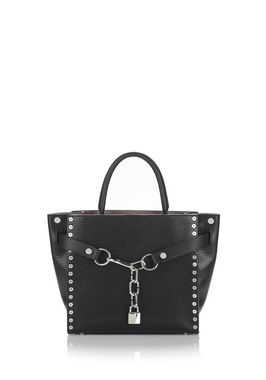 ATTICA CHAIN LARGE SATCHEL IN BLACK WITH GROMMETS