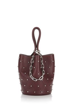 ROXY BUCKET IN EMBOSSED BEET WITH RHODIUM