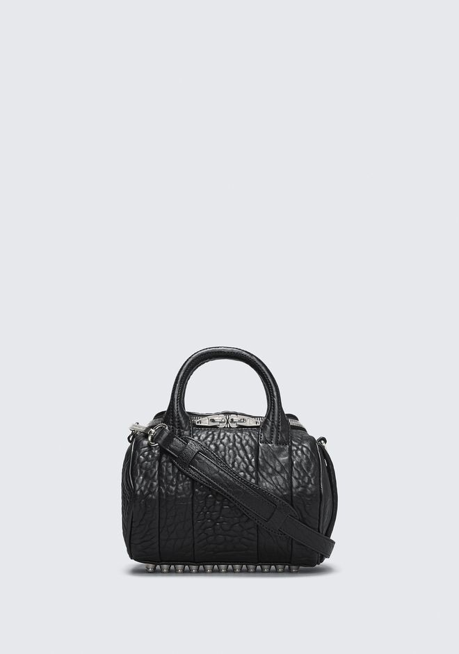ALEXANDER WANG rockie-rocco MINI ROCKIE IN PEBBLED BLACK WITH RHODIUM