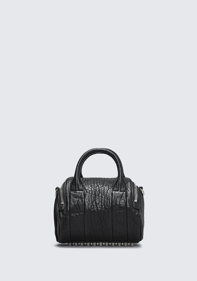ALEXANDER WANG MINI ROCKIE IN PEBBLED BLACK WITH RHODIUM Borse a spalla Adult 12_n_d