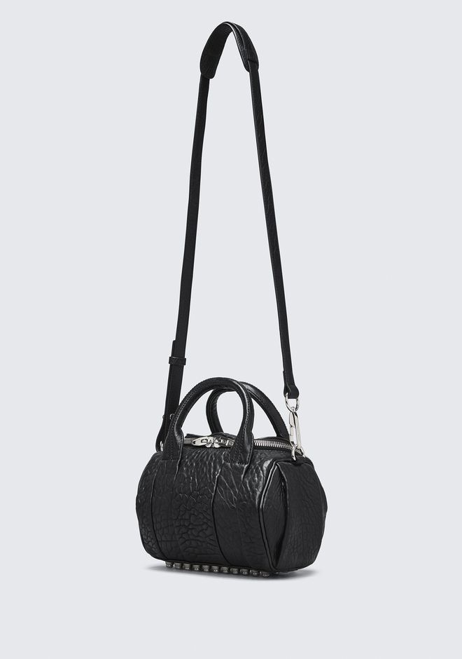 ALEXANDER WANG MINI ROCKIE IN PEBBLED BLACK WITH RHODIUM Borse a spalla Adult 12_n_e