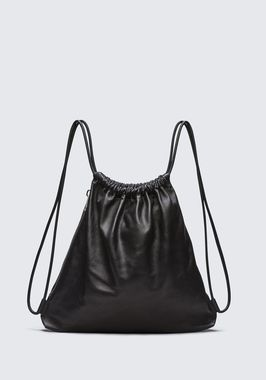 WALLIE GYMSACK IN BLACK LEATHER