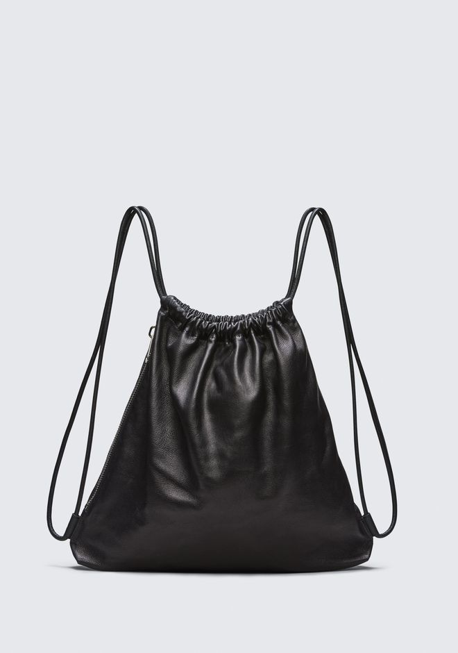 ALEXANDER WANG BACKPACKS Men WALLIE GYMSACK IN BLACK LEATHER