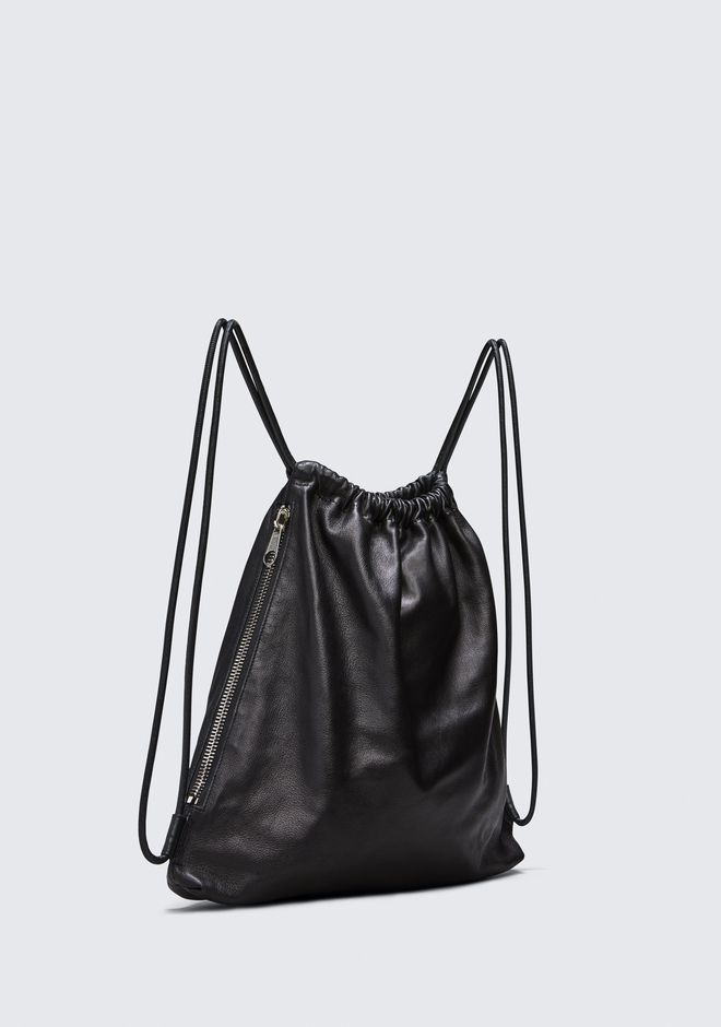 ALEXANDER WANG WALLIE GYMSACK IN BLACK LEATHER  BACKPACK Adult 12_n_a