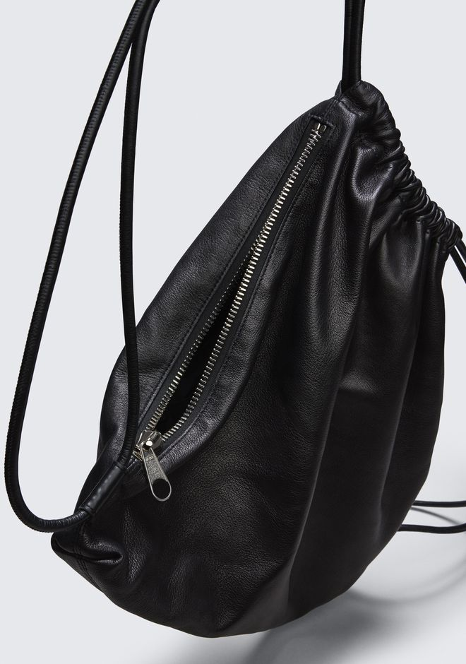 ALEXANDER WANG WALLIE GYMSACK IN BLACK LEATHER  BACKPACK Adult 12_n_e