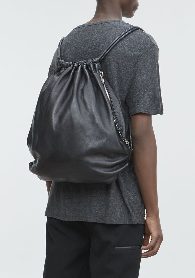 ALEXANDER WANG WALLIE GYMSACK IN BLACK LEATHER  BACKPACK Adult 12_n_r