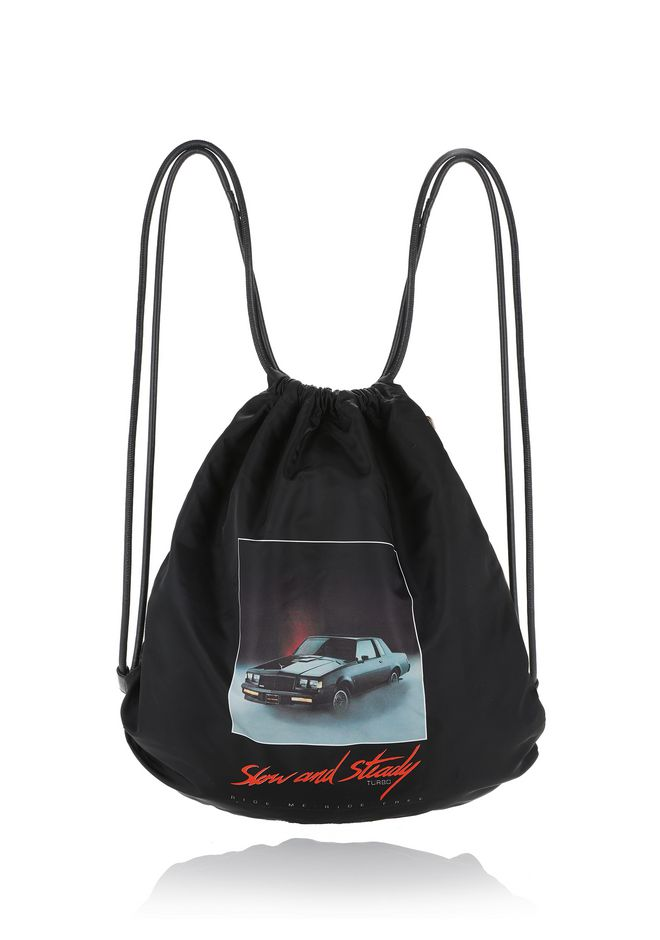 ALEXANDER WANG BACKPACKS WALLIE GYMSACK IN BLACK NYLON WITH CAR PRINT