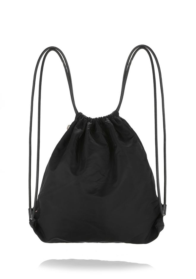 ALEXANDER WANG WALLIE GYMSACK IN BLACK NYLON WITH CAR PRINT BACKPACK Adult 12_n_d