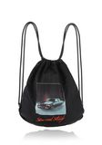 ALEXANDER WANG WALLIE GYMSACK IN BLACK NYLON WITH CAR PRINT BACKPACK Adult 8_n_f