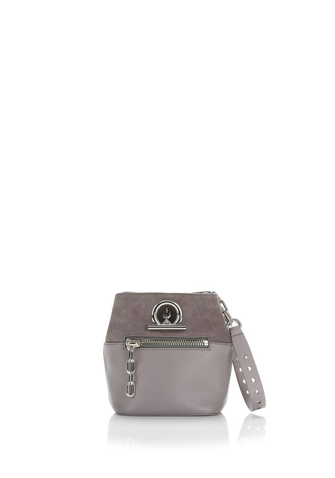 ALEXANDER WANG Shoulder bags Women RIOT CROSS BODY BAG IN PEBBLED GRAY WITH RHODIUM