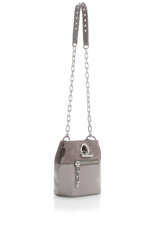 Alexander Wang Riot Cross Body Bag In Pebbled Gray With