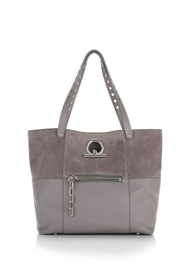 ALEXANDER WANG TOTES Women RIOT TOTE IN PEBBLED GRAY WITH RHODIUM