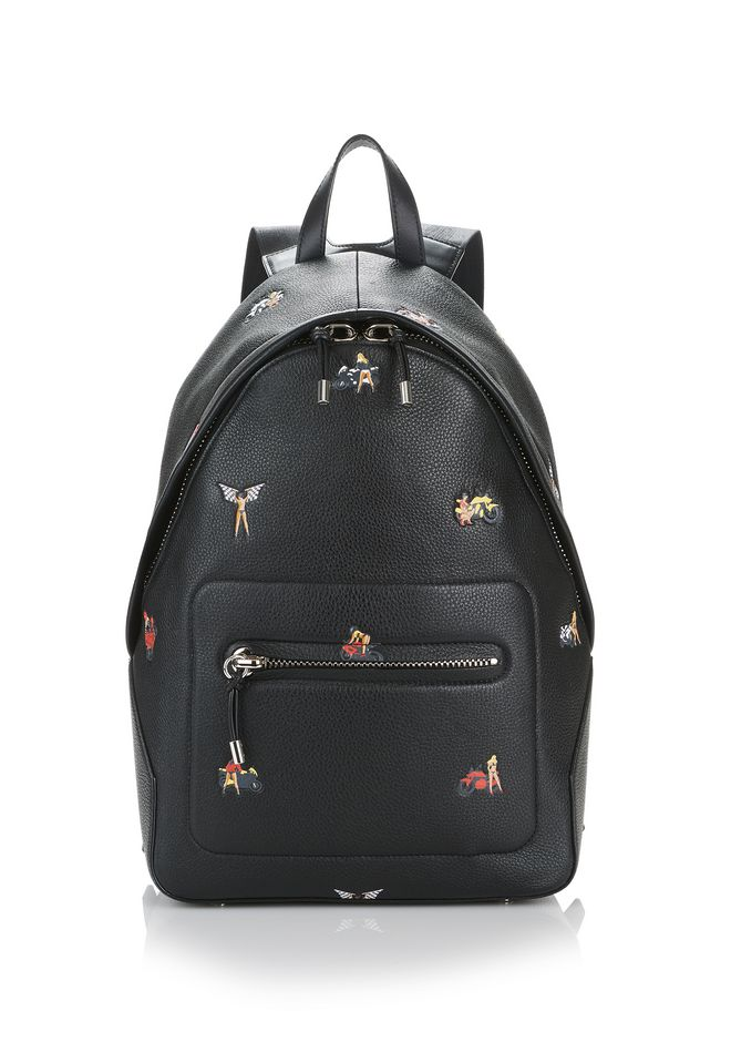 ALEXANDER WANG BACKPACKS BERKELEY BACKPACK IN PEBBLED BLACK WITH EMBOSSED BIKER BABES