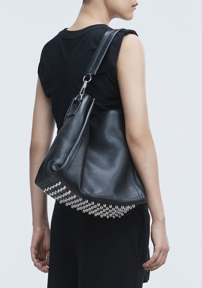 ALEXANDER WANG DARCY HOBO IN PEBBLED BLACK WITH RHODIUM ショルダーバッグ Adult 12_n_r