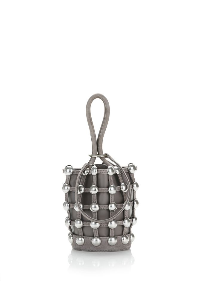 ALEXANDER WANG CLUTCHES DOME STUD ROXY MINI BUCKET BAG IN SUEDE MINK